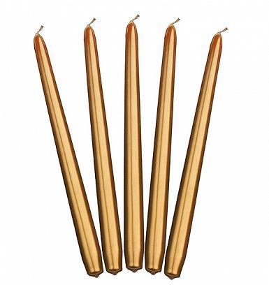 sviečky kónické biele metalické 30ks, zlaté 10ks - Obrázok č. 1