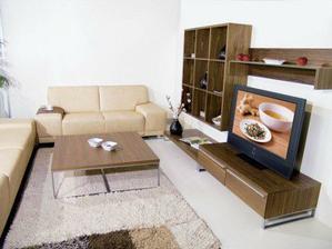Takto tmavou obývací stěnu, nízká skříňka a nízký konf. stolek....