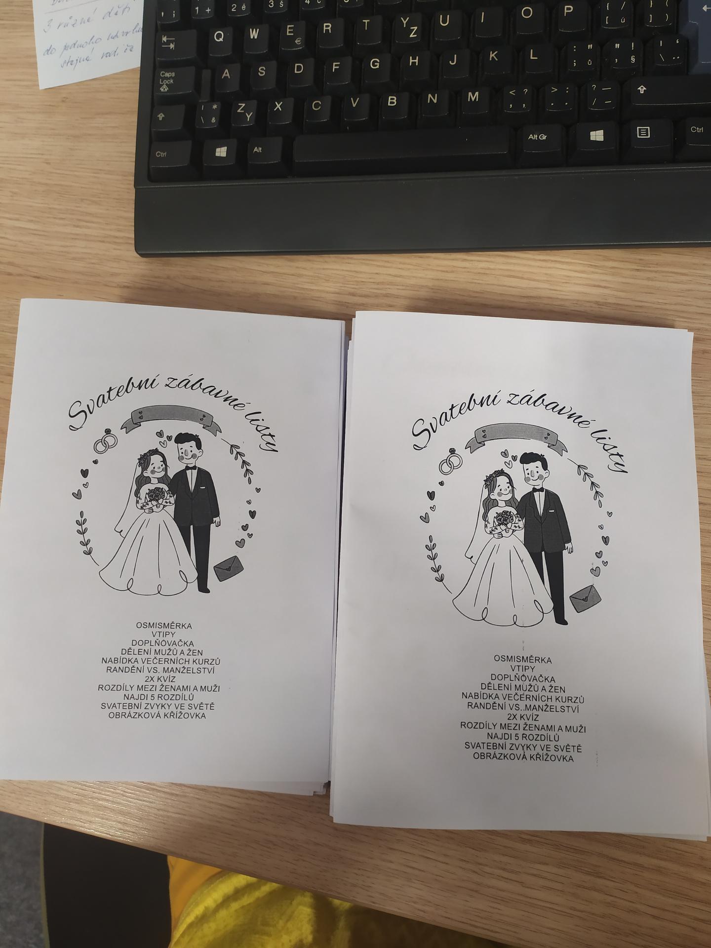 Svatební přípravy aneb co už máme. - Svatební listy