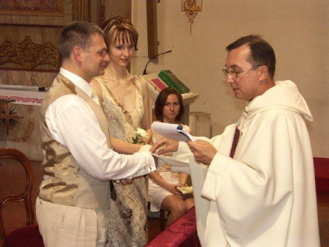 Daška Berníková{{_AND_}}František Jagnešák - sobaši nás padre Ludovico Melo (pôvodom z Dunajskej Stredy)