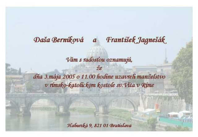 Daška Berníková{{_AND_}}František Jagnešák - oznamujeme že :-)