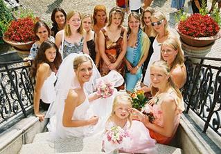 Bride with best girlfriends