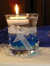 Dekorace - svíčka s vodou, simulace nočního focení