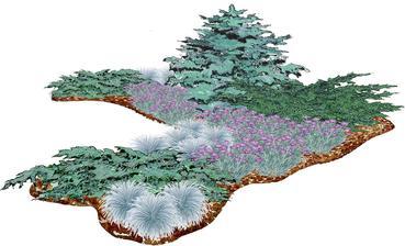 Striebristý kvetinový záhon s klinčekmi a kostravou  - vhodný pre otvorené slnečné miesta