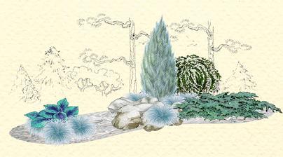 Záhon z modro - šedej kostravy - vhodný pre otvorené slnečné miesta
