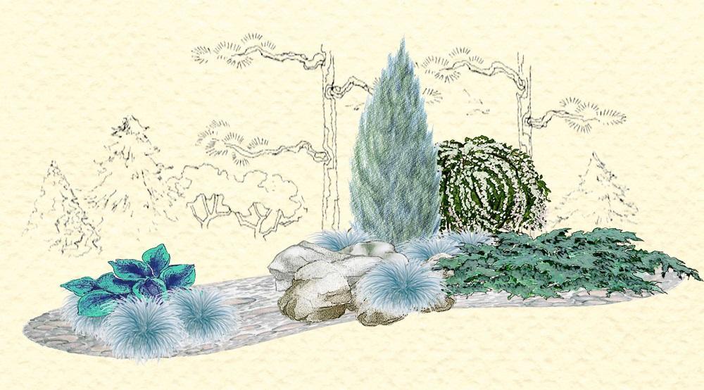 Záhony, výsadby a nejaké tie doplnky - Záhon z modro - šedej kostravy - vhodný pre otvorené slnečné miesta
