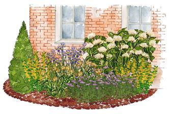 Kvetinový záhon žlto-bielo-modrý - vhodný pre otvorené slnečné miesta