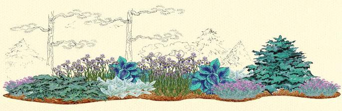 Striebristo - modrý kvetinový záhon  - vhodný pre otvorené slnečné miesta