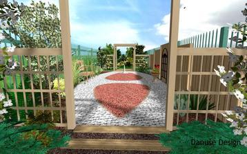 výsadby na plytko umiestnené technické prvky v záhrade Obr. 1: Barevná mulčovací kůra nebo štěrk pokrývají místo nad podzemní nádrží na mazut.