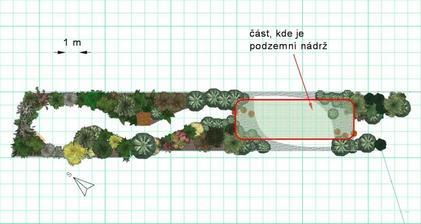 Obr. 6: Plánek s vyštěrkovanými rohy v obdélníku s mělkou půdou, výsadba je inspirovaná horským biotopem.