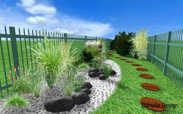 Obr. 7: Zahradou se vine cesta z kulatých nášlapných dlaždic, meandr nad nádrží vyplňuje štěrk s travinami a Kleopatřinou jehlou.