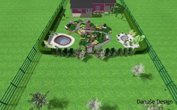 Obr. 11: Celkový pohled na zahradu rozdělenou sad a vřesoviště.