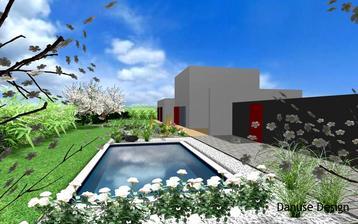 Obr. 14: Bazén vhodně doplňuje nejen řada růží a jemné ozdobnice, ale také skalka s exotickými agáve, liliochvostci a většími kameny.