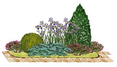 Kvetinový záhon s kužeľovitým smrekom - vhodný pre otovorené slnečné miesta