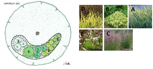 Ornamental Grass Shade Garden (na vlhké a tienisté miesto)