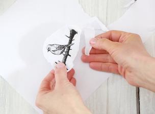3. V domácej tlačiarni vytlačíme obrázok vtáka, motýľa, alebo kvetu. Obrázok okolo obtrháme rukou.