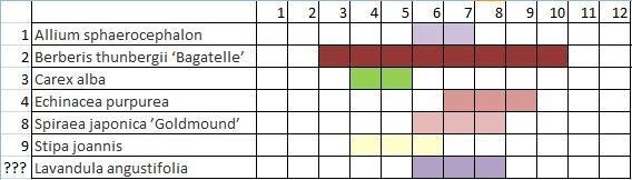 farebnosť záhona počas roka