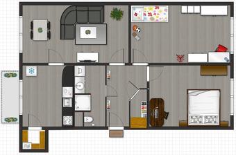 Takto nejak by to mohlo vyzerat len kuchyna bude do rohu :)