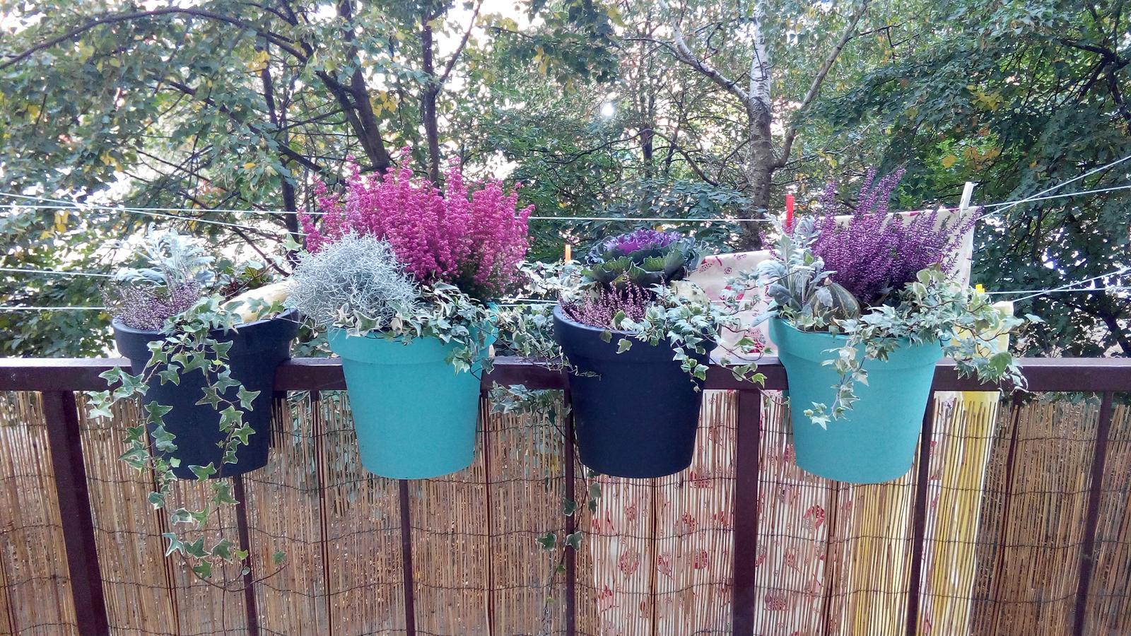 Kuchyňa - Pohlad z kuchyne na balkon, urobila som si trocha radostva obliekla ho do jesennej kolekcie :-)