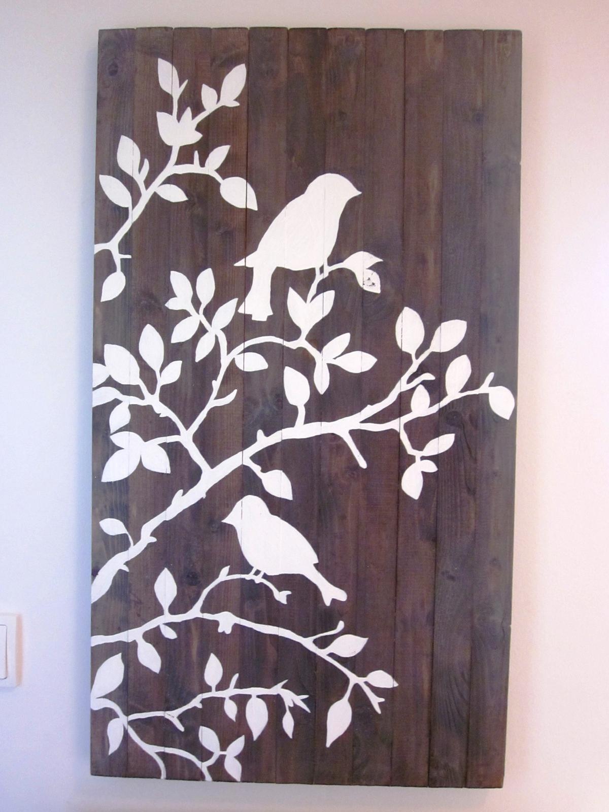 Moje výtvory - Pár latěk a hřebíků+ ocet+ čaj+ bílá barva = obraz :-)