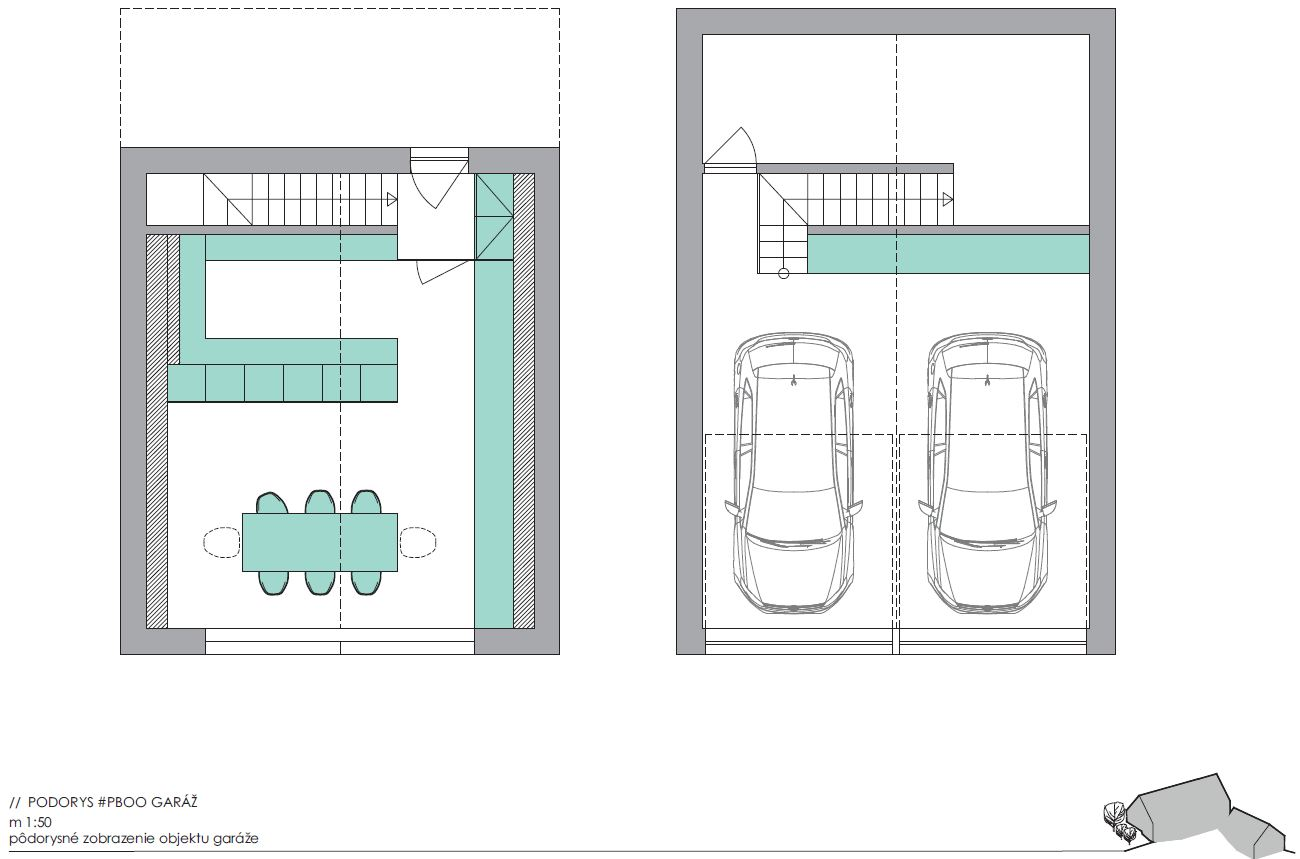 Vizualizácia projektu Borinka - garaž s letnou kuchynkou nad autami