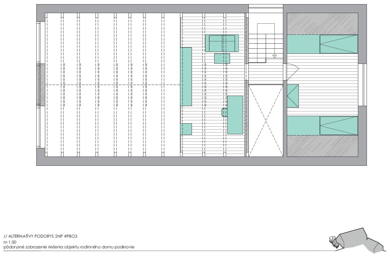 Vizualizácia projektu Borinka - podkrovie s galériou a pracovnňou. Možnosť vytvorenia dalšej izby alebo skladu