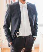 Svadobný tmavomodrý oblek Ozeta, 52