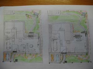 """Tretí a strty navrh spolu... skusila som aj zadnu zahradu """" akože"""".... inak to políčko by bolo uplne mini, asi 2x2,5m, uplne vzadu v rohu schovane za nizkym zivym plotom, gro by bola okrasna zahrada samozrejme:) ale domace rajcinky chcem :)"""