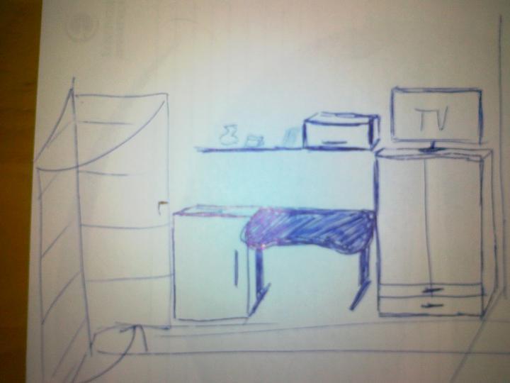 Detska - studentska izba - moje nacrty.. Picasso zo mna nebude :-D