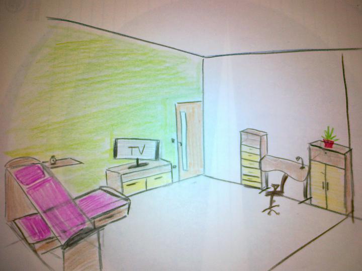 Detska - studentska izba - TV na druhej stene.. len natoceny smerom k poszteliam.... ale moc sa tym nezvačší ulozny priestor..
