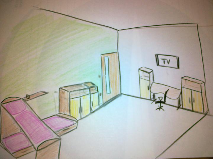 Detska - studentska izba - obe skrinky vysoke po bokoch stola.. bez polic.. TV v strede...