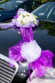 Set organzy a mašlí na auto nevěsty - tm. fialový,