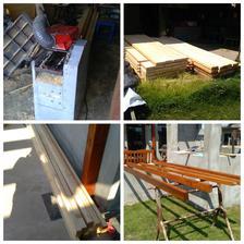 dřevo,dřevo, dřevo.. desky mi manžel nařezal na půl a já už teď jen hobluji a hobluji, 8,5cmx 4,5cm, a natírám.. bude potřeba asi 60ks latí.. no promě práce na xx dní..