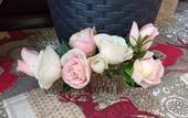 Handmade kvetinový polvencek ružovo biely,
