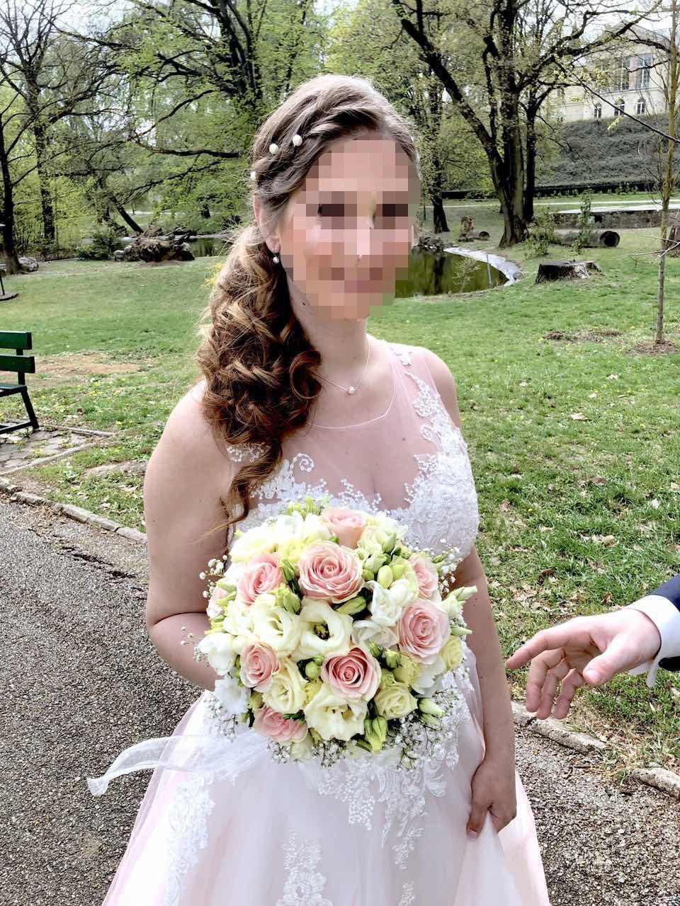 Ružové romantické šaty s čipkou a perličkami 40/42 - Obrázok č. 3