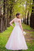 Ružové romantické šaty s čipkou a perličkami 40/42, 40