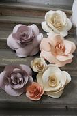Papírové kytky, set 7 květin ,