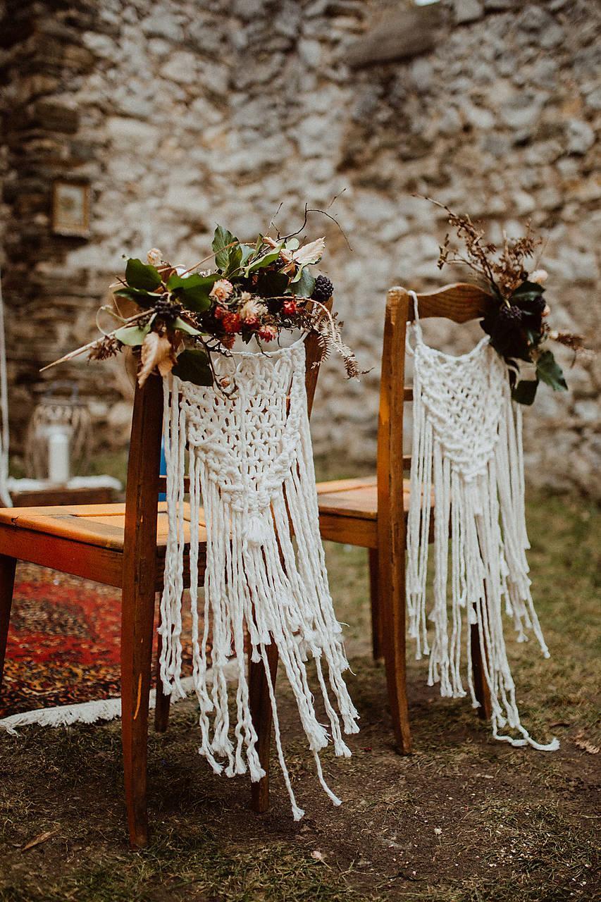 Svadobné makramé na stoličky v boho štýle - Obrázok č. 1