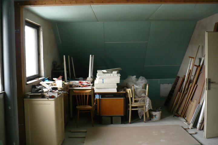 Naše podkroví - budoucí kuchyň s obývacím pokojem