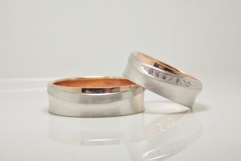 Svadobné obrúčky - biela a červená - Biele 14kt zlato rhodiované a červené zlato
