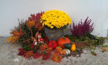 podzimní dekorace na zápraží