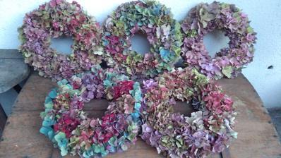 o věnce z hortenzií byl letos zájem, tak jsem dnes ostříhala poslední květy a zítra už budou někomu dělat radost