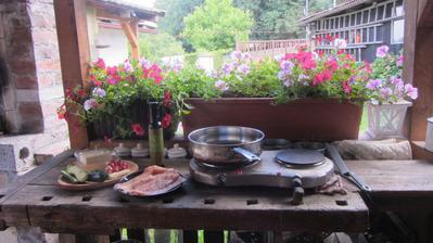 moje venkovní kuchyně s výhledem na dvůr