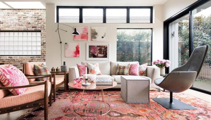 Inšpiratívne kombinácie - textúry, povrchy, vzory, farby - ružová nemusí byť v dievčenských detských a v shaby-chic interiéroch ( neviem, či som to správne napísala :-( )