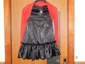 saténové čierne šaty s volánom-nenosené, L