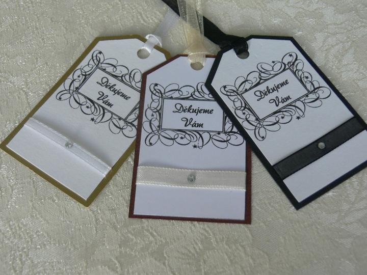 Svatební doplňky v barvě zlata - Děkovné ceduky - na výslužky, dárečky, na upomínku