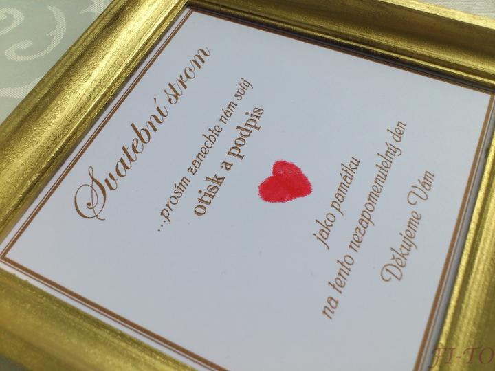 Svatební doplňky v barvě zlata - Popis ke svatebnímu stromu hostů