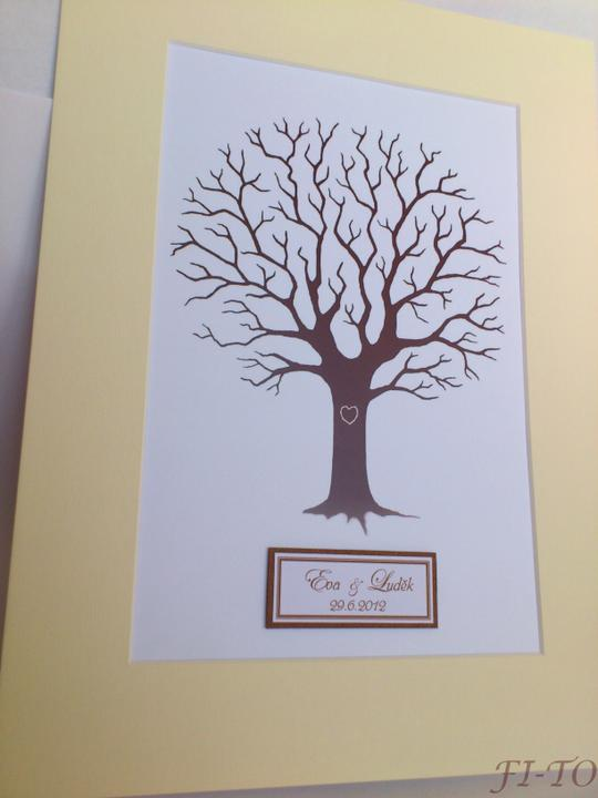 Svatební doplňky v barvě zlata - Svatební strom hostů - štítek se jmény, datem svatby a 2 razítkovací polštářky dodáváme gratis