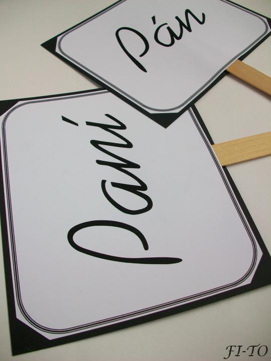 Svatební doplňky v barvě bílo černé - Foto cedulky - vaše fotečky budou nevšední