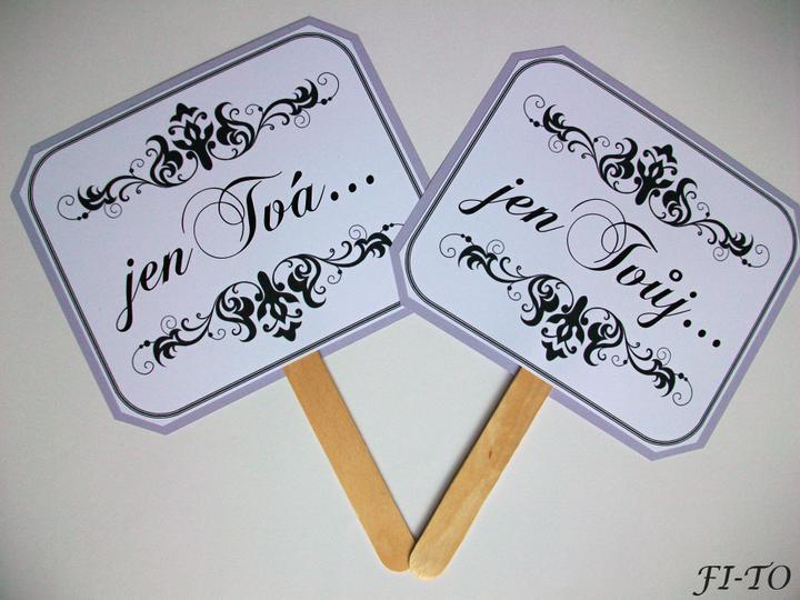 Svatební doplňky v barvě fialek - Foto cedulky - vaše fotečky budou nevšední